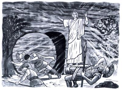 les soldats romains devant le tombeau de Jésus